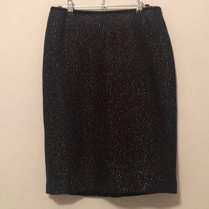 NWT Talbots black gold shimmer pencil skirt